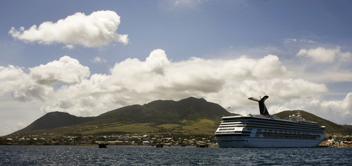 The cruise ship Carnival Destiny is shown docked in Basseterre