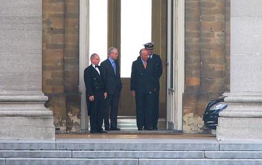 Outgoing Belgium's PM Herman Van Rompuy leaves a meeting with Belgium's King Albert  in Brussels
