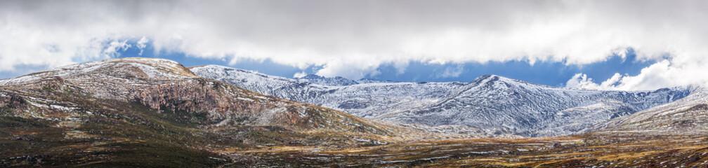 Panoramic Landscape of Snow Mountains. Australian Alps, Kosciuszko National Park, Australia