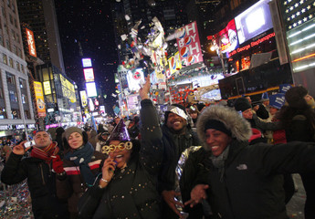 Revelers pack Times Square as they celebrate the New Year in New York