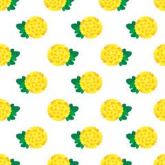 CHRYSANTHEMUM  PATTERN Simply graphic yellow chrysanthemum with green leaves arranged in seamless pattern on the white background.