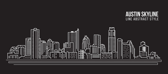 Cityscape Building Line art Vector Illustration design -  Austin skyline city Wall mural