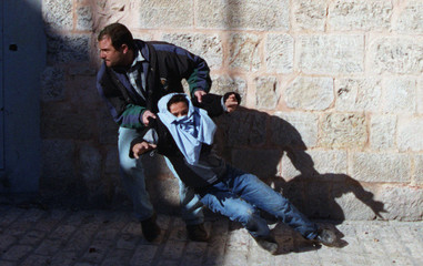 UNDERCOVER ISRAELI POLICE ARRESTS PALESTINIAN DURING CLASHES IN JERUSALEM.
