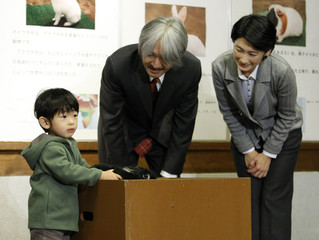 Japan's Prince Hisahito touches a rabbit as his parents look on during their visit at the Ueno Zoological Gardens in Tokyo