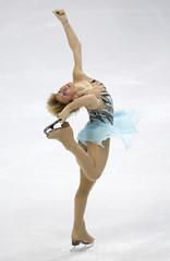 Leonova of Russia performs during the women's short program at the European Figure Skating Championships in Helsinki