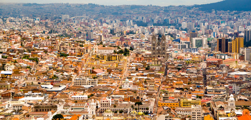 View of the historic center of Quito, Ecuador