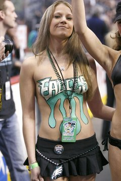 Wingette Lisa Jarel shows a Philadelphia Eagles logo painted on her body at the 15th annual Wingbowl event in Philadelphia