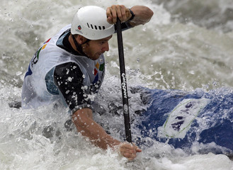 Bell of Australia competes in men's C1 Canoe single at the Canoe/Kayak Slalom World Championships in Foz do Iguacu