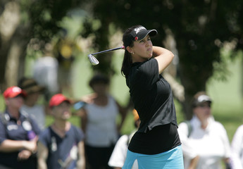 Australia's Kristie Smith plays a shot during the second round of the Ladies Masters golf tournament on the Gold Coast