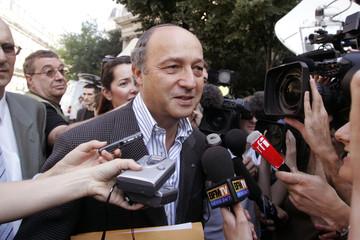 Socialist former French PM Fabius arrives to attend Socialist Party National convention meeting at La Mutualite in Paris