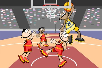 Four basketball players at the stadium