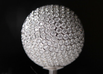 A diamond encrusted golf ball is put on display prior to the Moravia Silesia Open golf tournament in Celadna