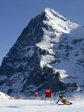 Osborne-Paradis of Canada takes a curve in front of the Eiger mountain to clock the second time of the third practice of the men's Alpine skiing World Cup downhill race at the Lauberhorn in Wengen