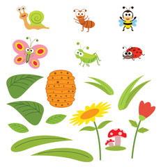 Insects cartoon set with natural elements