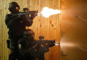 BULGARIAN SPECIAL ANTI-TERRORIST UNIT MEMBERS SHOOT IN SOFIA.