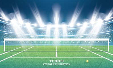 Tennis Court with Green Grass and Spotlights.