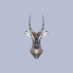 Vector sign abstract head of African Waterbuck.