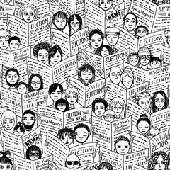 Seamless pattern of diverse people with shocked and sad faces, reading newspapers about the elections