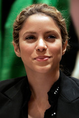Pop singer Shakira listens during a panel discussion on women working in developing countries in New York