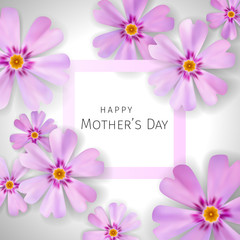 Mother's day greeting card with flowers phlox background