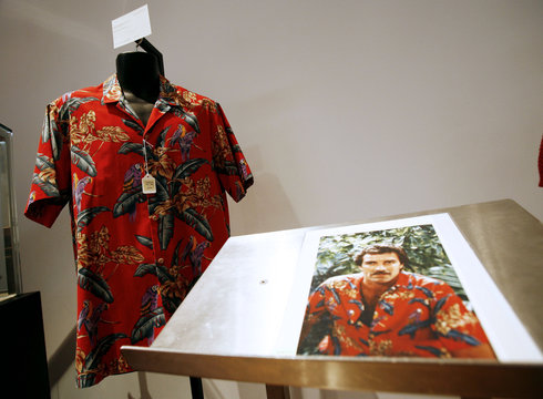 Red Hawaiian shirt worn by actor Selleck sits on display at Christie's in New York