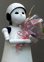 HUMANOID ROBOT POSY IS UNVEILED BY SILICON GRAPHICS INC IN TOKYO.