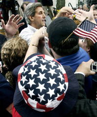 U.S. Democratic presidential nominee John Kerry reaches out to supporters in Ohio.