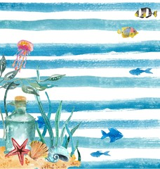 Watercolor nautical background
