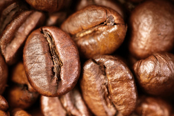 Coffee beans macro wallpaper. Roasted coffee beans as Brown background