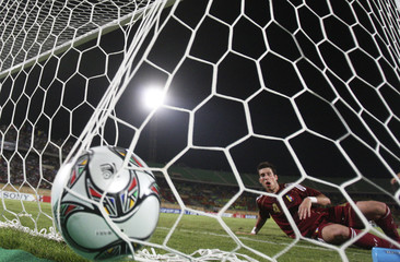 Velasquez of Venezuela looks at ball after Khalil of United Arab Emirates scored a goal during their FIFA U-20 World Cup soccer match in Suez