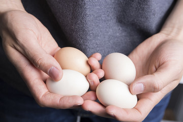 Man holding four eggs closeup