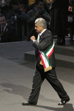 """Andres Obrador, Mexico's leftist opposition leader, is sworn in as """"legitimate president"""" at Mexico City's Zocalo square"""
