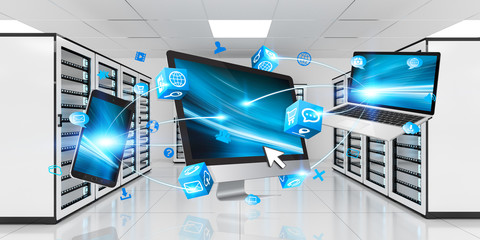 Devices connected on server room data center 3D rendering