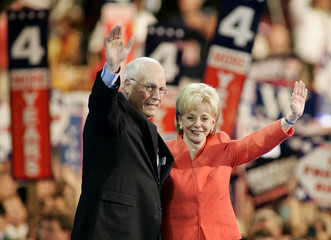 Vice President Dick Cheney and his wife Lynne acknowledge the audience at the 2004 Republican National ...