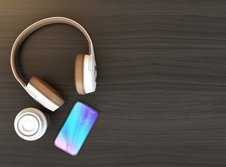Wireless headphone and smart phone on dark wooden table. Copy space available. 3D rendering image.
