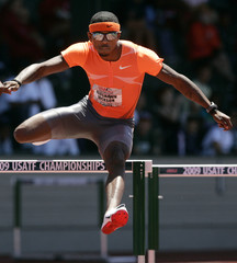 Jackson en route to winning the men's 400 meter hurdles final at the U.S. track and field championships in Eugene