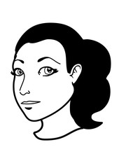 Portrait of a young woman in black and white. Vector illustration