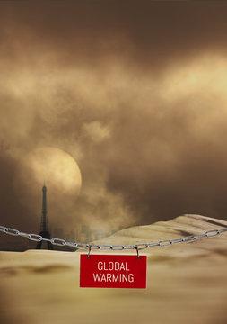 changement climatique paris chaleur dune désert sécheresse soleil sec urbain ville température météo tour eiffel