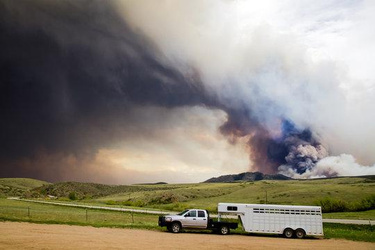 Wildfire Smoke Plume Horse Trailer