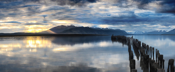 Abandoned pier at Puerto Natales, Chile, the gateway to Torres del Paine National Park