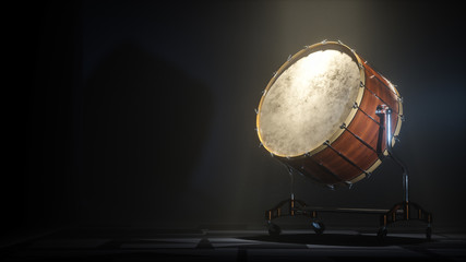 Orchestra Big drum on dark myst background. 3D rendering