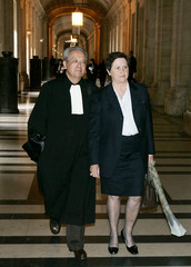 French lawyer Jacques Verges and Louise-Yvonne Casetta former treasurer of the RPR party arrive at ...