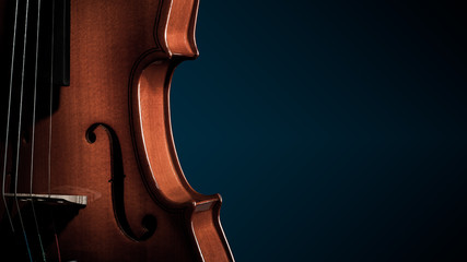 Violin musical instruments of orchestra closeup on black