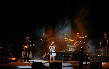 British singer Lucie Silvas performs during a concert at Cap Roig festival in Palafrugell