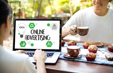 ONLINE ADVERTISING man working on laptop , Website Marketing , Update Trends  Advertising , Online Business Content Strategy