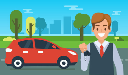 Happy car owner stand  near his new car and holding the keys. Flat style vector illustration.