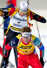 NORWAY'S BJOERNDALEN SKIS DURING THE MEN 15 KMS MASS START COMPETITION AT BIATHLON WORLD CUP IN ANTERSELVA.