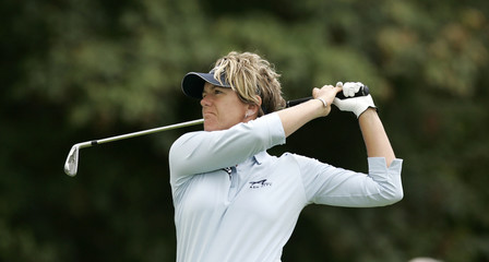Bader of the U.S. hits her tee shot at the LPGA Safeway Classic in Portland