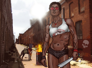 Athletic Post-apocalyptic Girl in Sunglasses. Colorful illustration