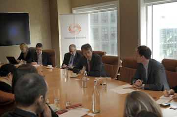 Andrew Newington, Managing Partner of BC Partners, talks to journalists at the Thomson Reuters offices in London